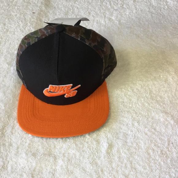 8a76e110d0dae Nike SB Act Chambray Pro Snapback blk org camo HAT